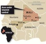Mali showing area under Islamist control