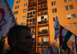 Supporters of the Hungarian far right Jobbik party gather front of Avas apartment block during their demonstration in Miskolc