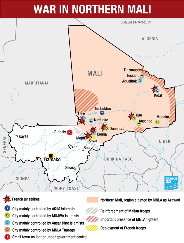 War in Northern Mali Map
