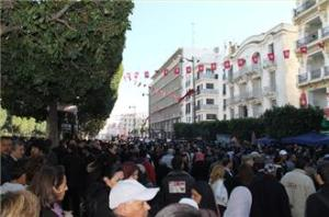 Protesters gathered at the Interior Ministry in Tunis, chanting slogans against the government