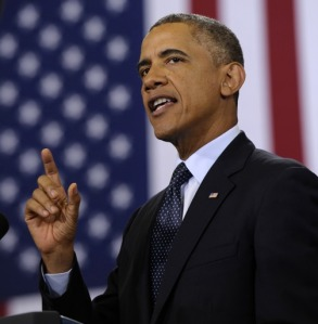 President Barack Obama speaks about the economy, Wednesday, July 24, 2013, at Knox College in Galesburg, Ill.