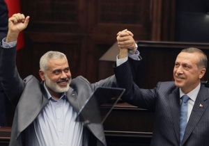 Turkey's Prime Minister Recep Tayyip Erdogan with Hamas Prime Minister  Ismail Haniyeh