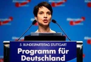 Chairwoman of the anti-immigration party Alternative for Germany (AfD) Frauke Petry addresses the second day of the AfD party congress in Stuttgart, Germany, May 1, 2016