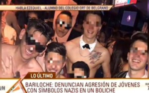 Children from a German school in Buenos Aires wearing swastika armbands attacked pupils from a Jewish school