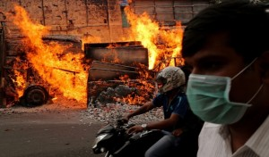 Clashes in Bangalore, India over disputes on water-sharing between two states in southern India.