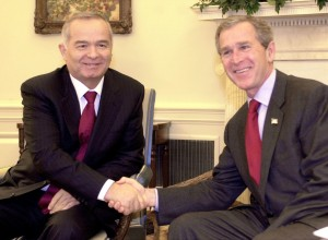 President George W. Bush, right, meets with the president of Uzbekistan, Islam Karimov, in the Oval Office at the White House in 2002.