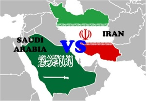 saudi-arabia-vs-iran-flag-on-map
