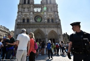 The vehicle, a Peugot 607 without a license plate, was found with its hazard lights flashing close to the landmark building in the heart of the French capital