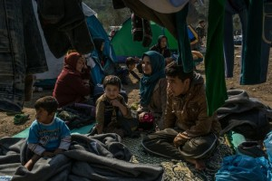 An Afghan family at a refugee camp last year on the island of Lesbos.