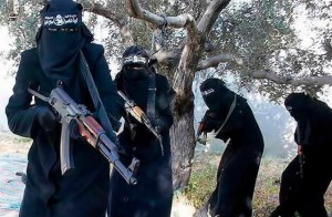 Members of the feared and brutal all-female Islamic-State Al-Khansa Brigade. Now those women are on the run from Iraqi forces