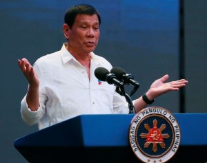 Philippine President Rodrigo Duterte gestures during his address to a Filipino business sector… Beijing expressed support for a crackdown on illegal drugs in the Philippines by President Rodrigo Duterte
