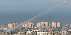 Rocket fired from Gaza toward Israel.
