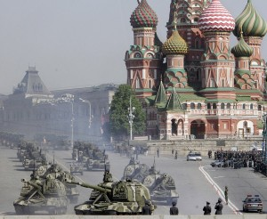 Russian tanks leave the Red square during the rehearsal general for the Victory Day military parade.