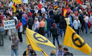 The Identitarian Movement demonstrates in Dresden.