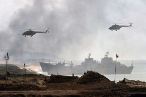 Russia's navy ships and helicopters take part in a military exercise called Kavkaz (the Caucasus) 2016 at the coast of the Black Sea in Crimea on Sept. 9, 2016.