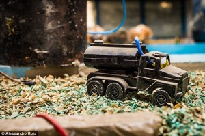 This seemingly harmless toy truck is actually a trigger for an explosive device